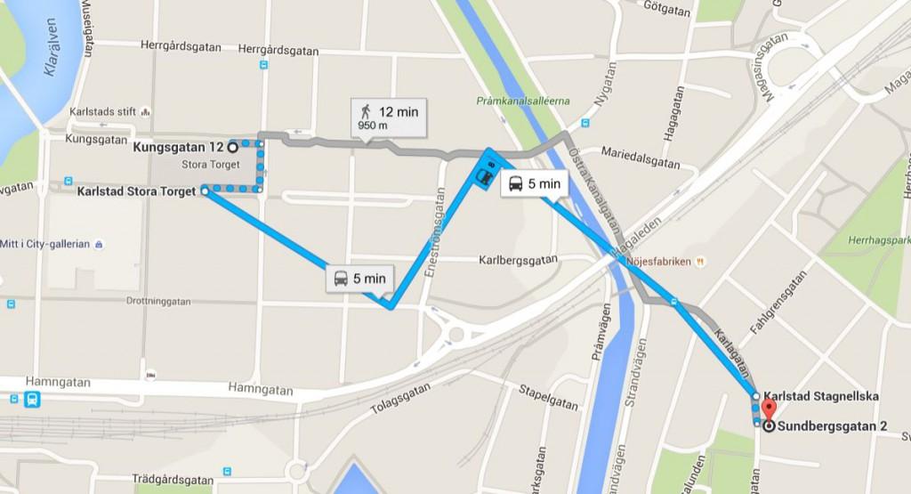 Ta buss 8 eller gå från Stora Torget